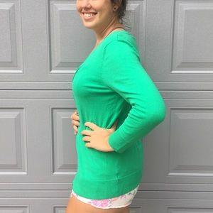 Merona Sweaters - Merona V-neck Green Cotton Button Front Cardigan